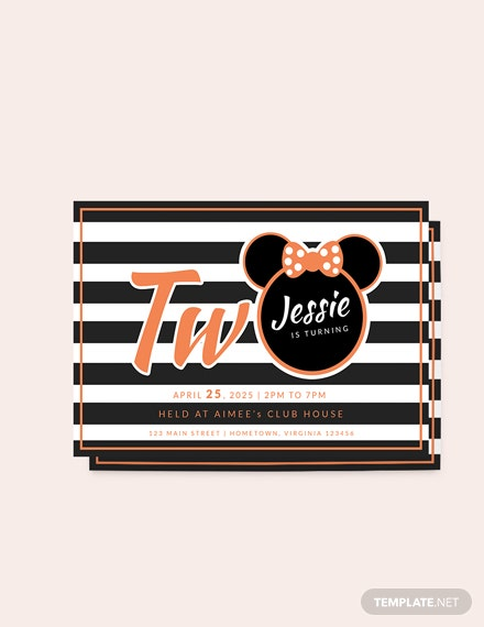 Sample Young Minnie Mouse nd Birthday Invitation Template