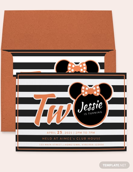 Young Minnie Mouse nd Birthday Invitation Template Download