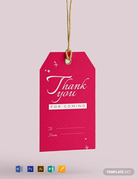 Free Thank You for Coming Tag Template