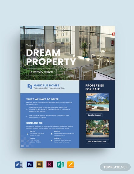 Commercial Real Estate Agent Agency Flyer Template Word Excel Psd Indesign Apple Pages Publisher Apple Numbers Illustrator