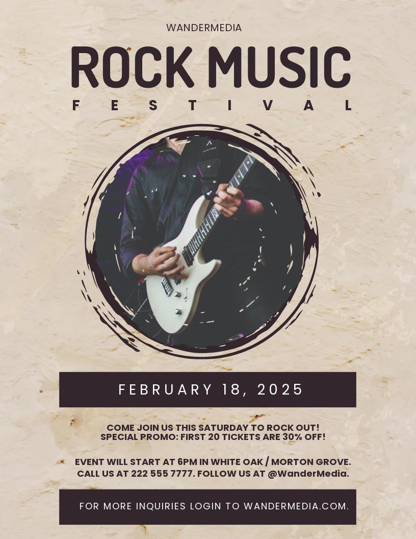 Rock Festival Music Flyer Template