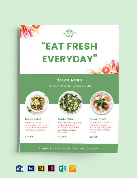 Salad Menu Flyer Template