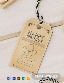 Free Vintage Birthday Tag Template