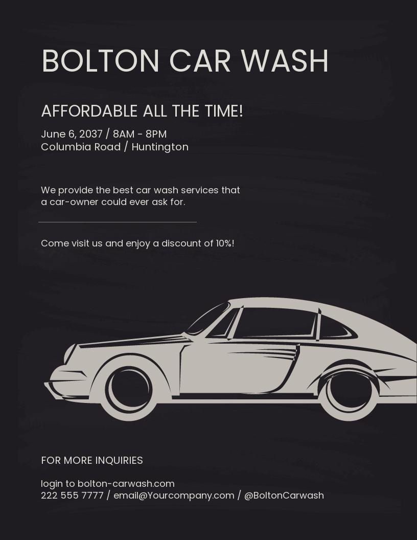 Chalkboard Car Wash Flyer Template.jpe