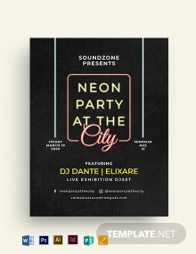 Glow in the Dark Party Flyer Template