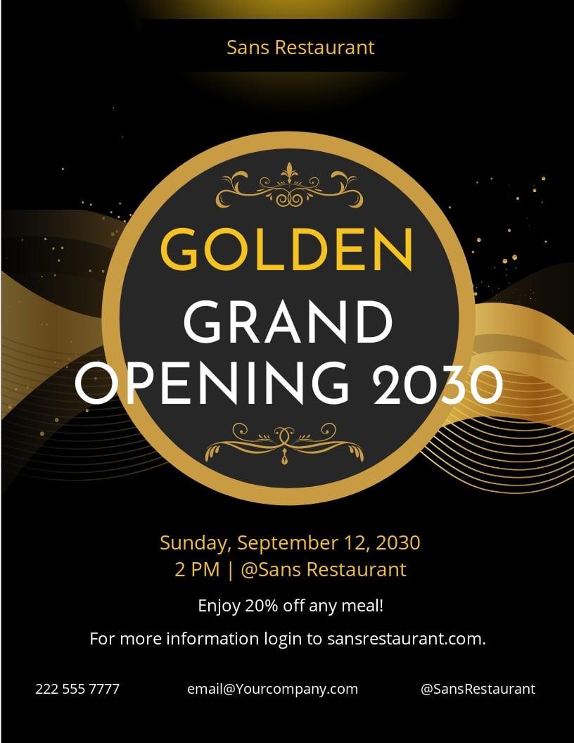 Golden Grand Opening Flyer Template.jpe