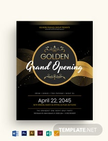 Golden Grand Opening Flyer Template