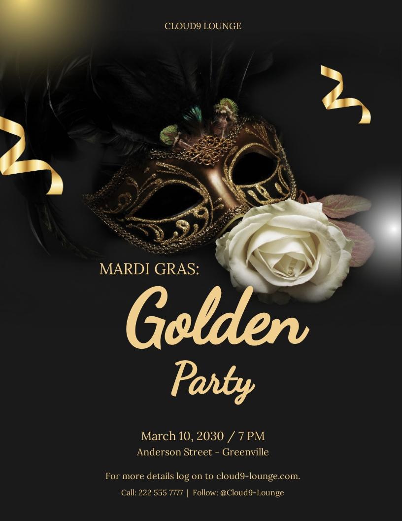 Golden Mardi Gras Flyer Template