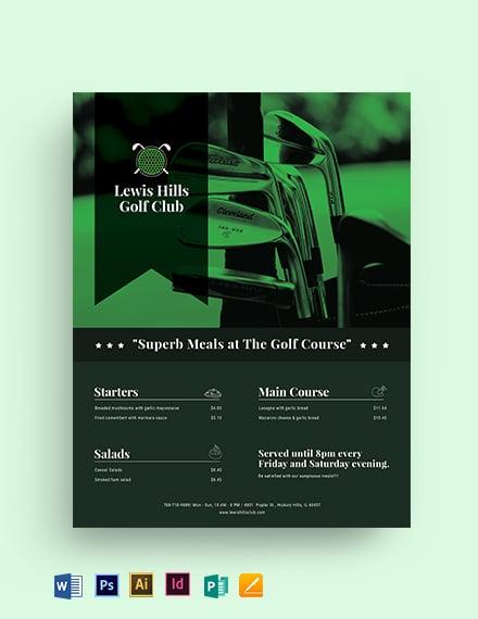 Golf Club Menu Flyer Template