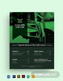 Golf Club Menu Flyer Template