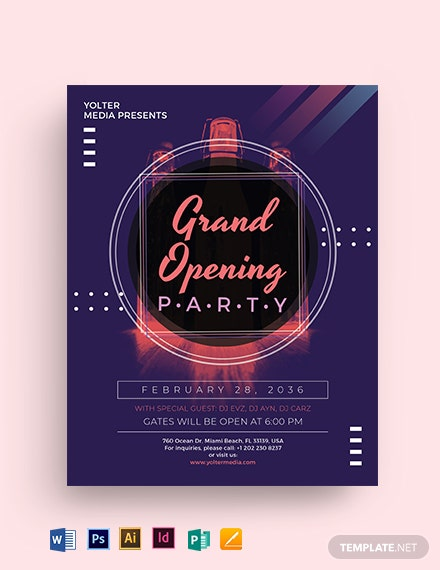 Grand Opening Party Flyer Template