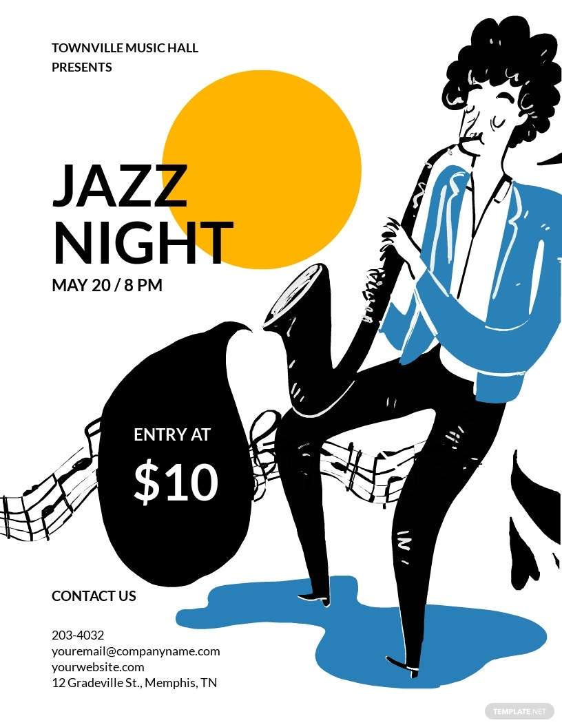 Jazz Night Flyer Template [Free JPG] - Illustrator, InDesign, Word, Apple Pages, PSD, Publisher