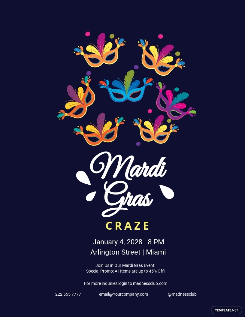 Mardi Gras Madness Flyer template