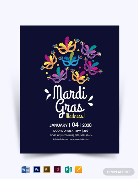 Mardi Gras Madness Flyer template