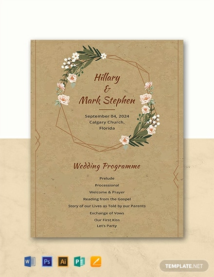 Free Rustic Wedding Program Template