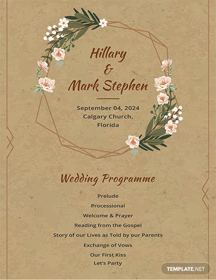 FREE Rustic Wedding Program Template Download 30 Templates In PSD Illustrator InDesign Word Publisher Apple Pages