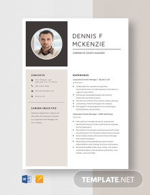 Corporate Event Manager Resume Template