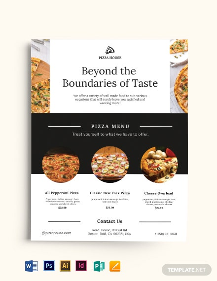 pizza menu flyer flyer template 440