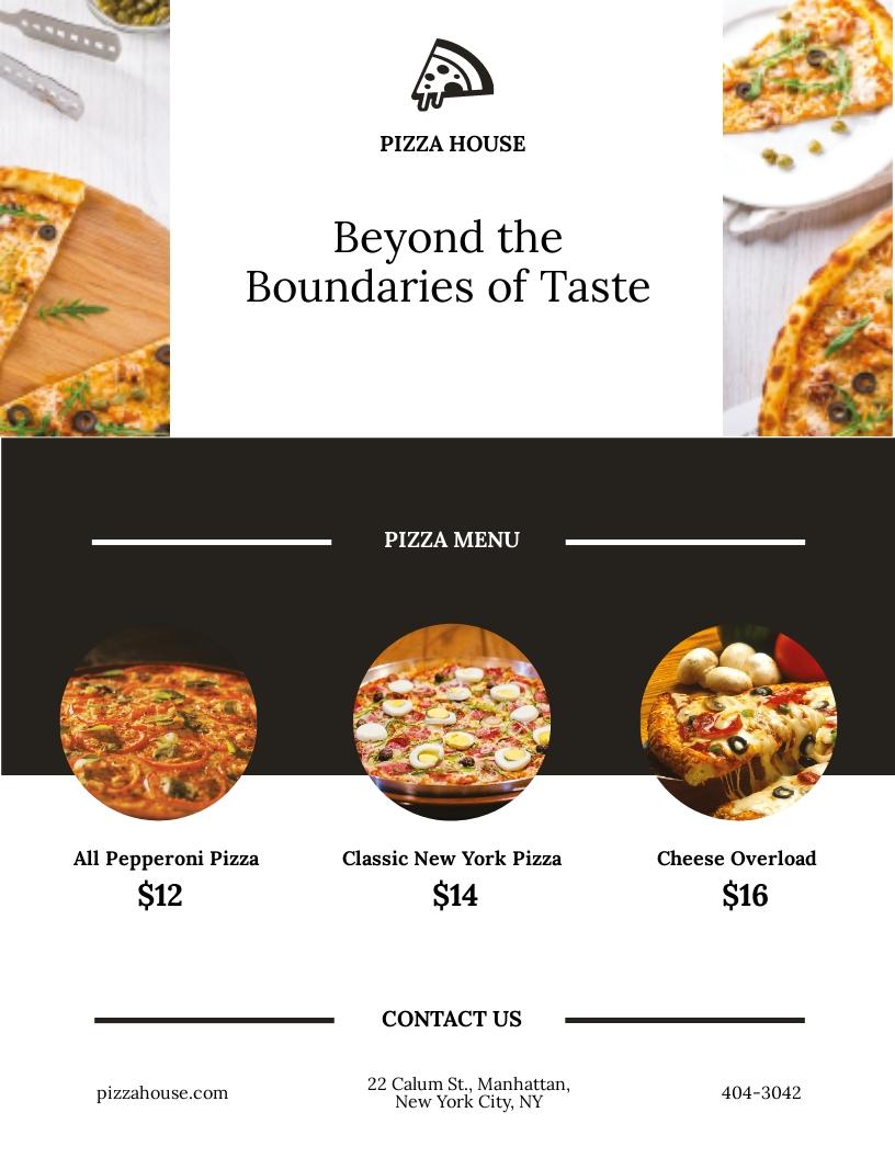 Restaurant Pizza Menu Flyer Template