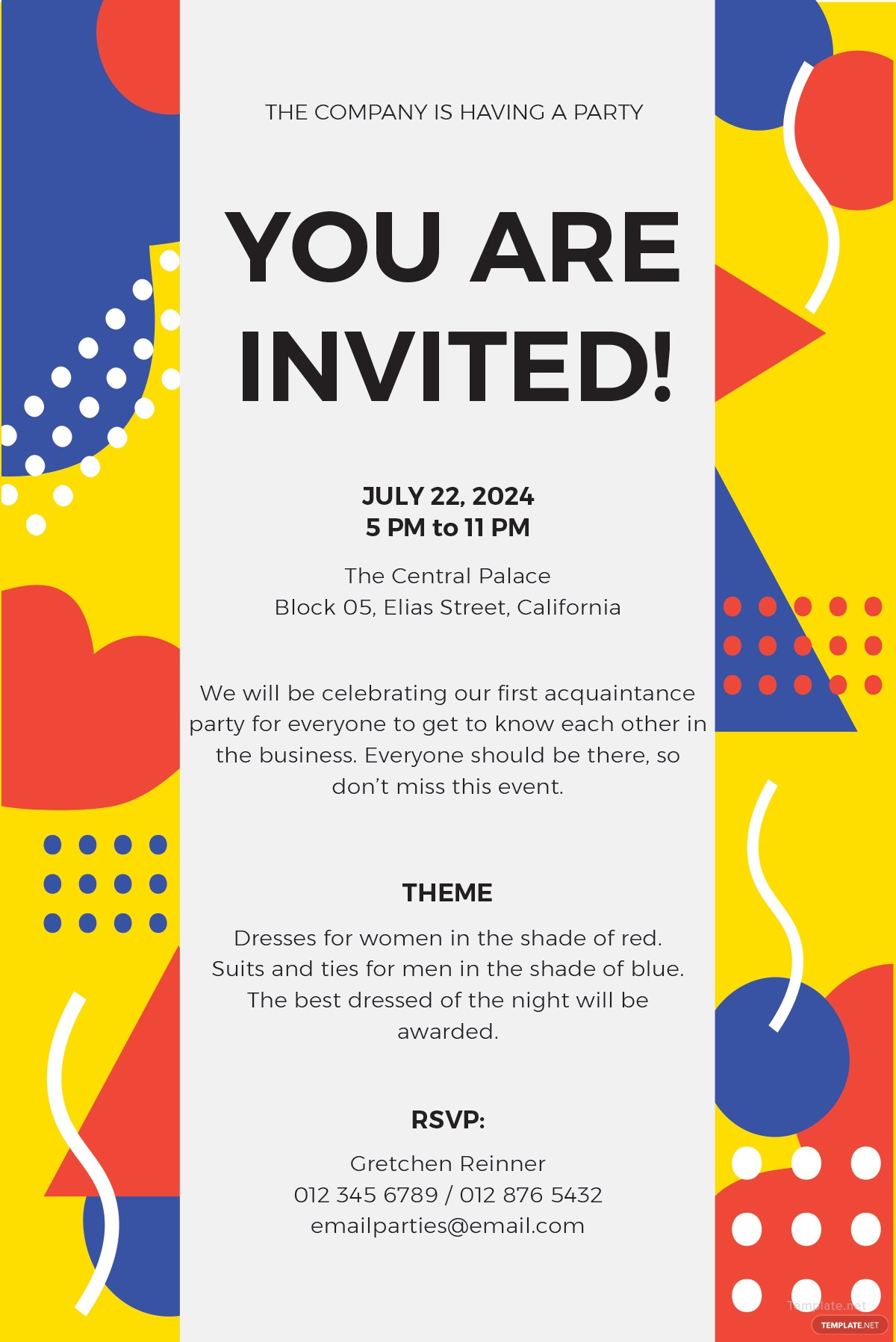 free email party invitation template in ms word  publisher