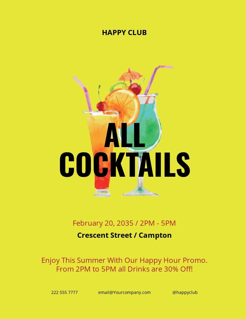 Summer Happy Hour Flyer Template