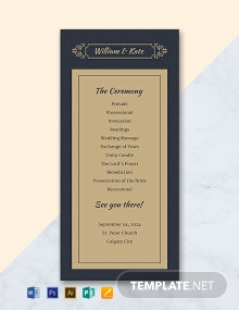 Free Traditional Wedding Program Template