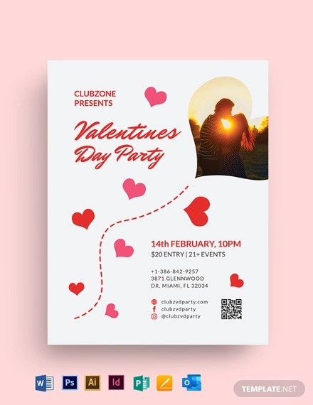 Valentine Day Celebration Flyer Template