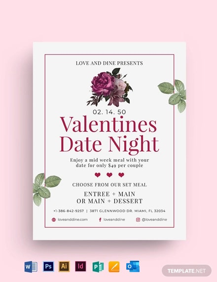Valentines Day Dinner for Two Flyer Template