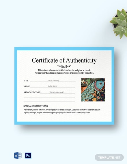 artwork authenticity certificate template