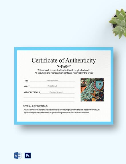 Artwork Authenticity Certificate Template