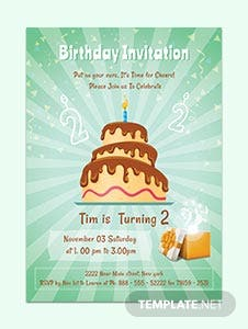 Free 2nd Birthday Invitation Template