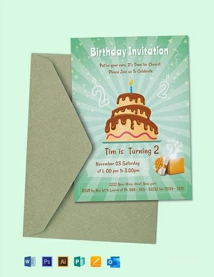 Free 2nd Birthday Invitation Template