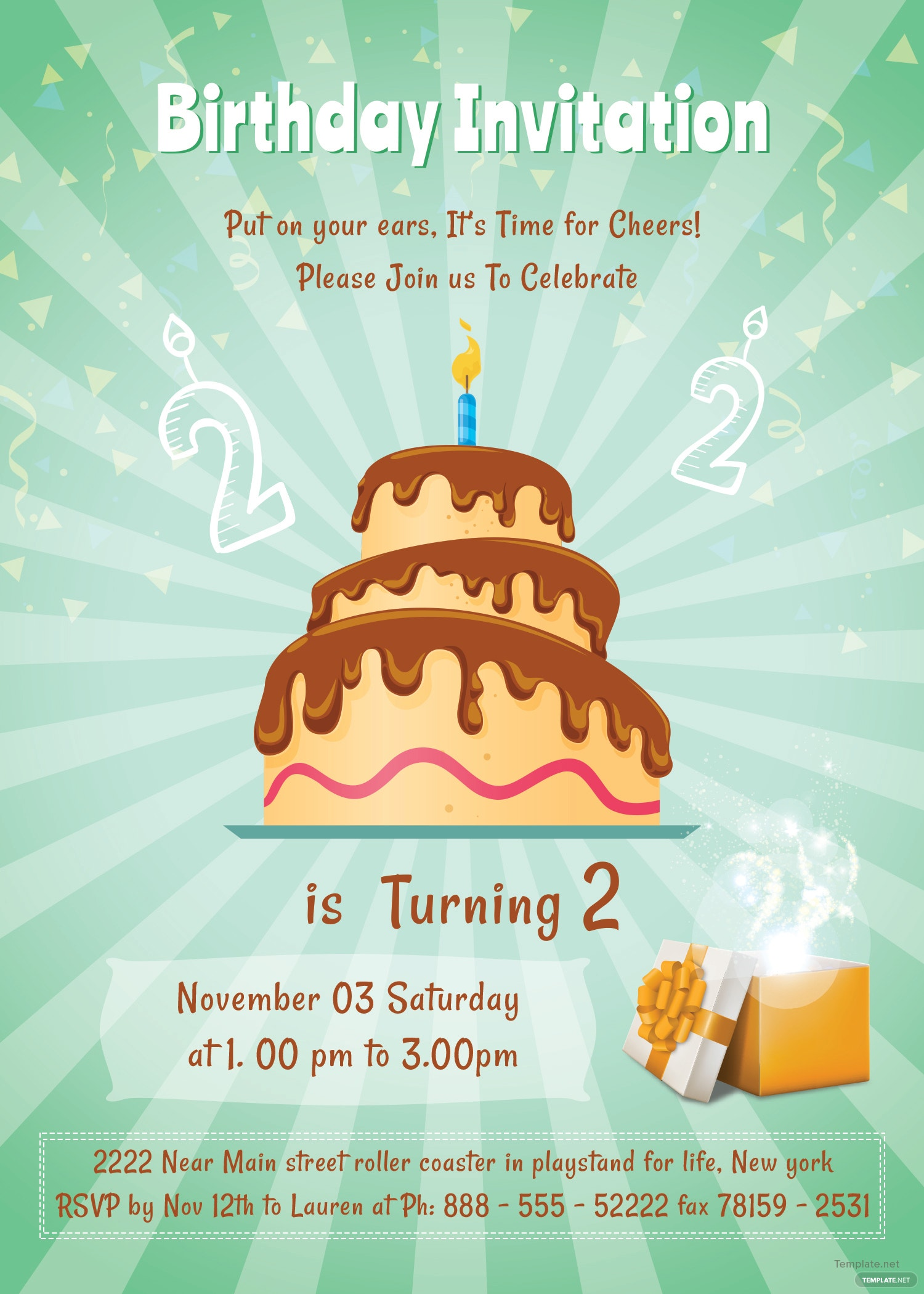 Free 2nd Birthday Invitation Template In Adobe Photoshop