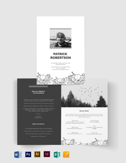 Blank Funeral Memorial Bi-Fold Brochure Template