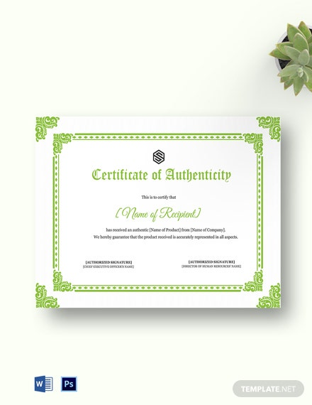 photo about Printable Certificate of Authenticity named Certification of Authenticity Template - 19+ Cost-free Term, PDF
