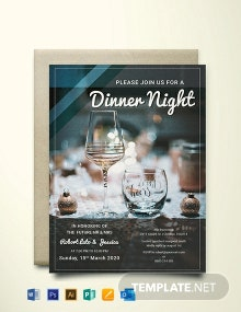 Free Dinner Night Party Invitation Template
