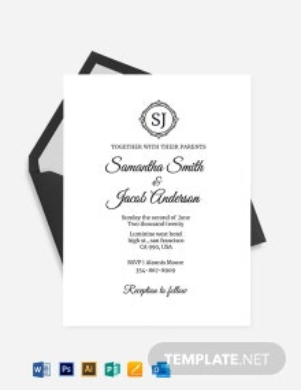 Monogram Fall Wedding Invitation Template