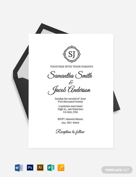 Monogram Fall Wedding Invitation Template