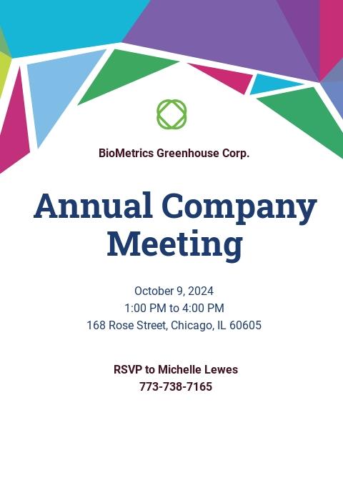 Free Annual Meeting Invitation Template