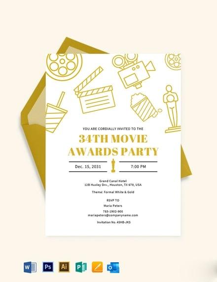 Movie Awards Party invitation Template