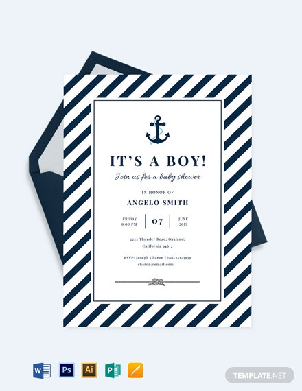 Nautical Baby Shower Invitation Template