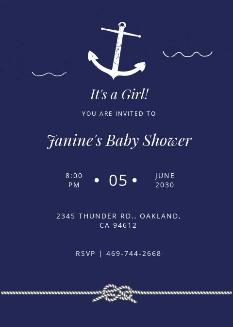 Navy Nautical Baby Shower Invitation Template