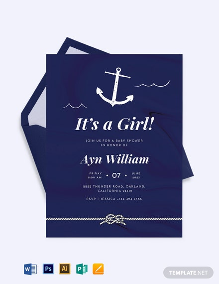 Navy Nautical Baby Shower Invitation Template