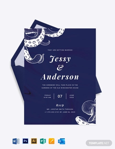 Octopus Fall Wedding Invitation Template