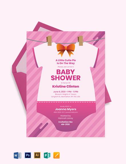 Onesie Baby Shower Invitation Template