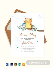 Owl Baby Shower Invitation Template
