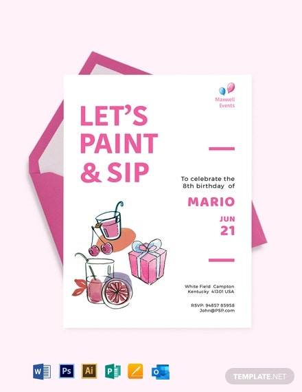 Paint And Sip Birthday Invitation Template