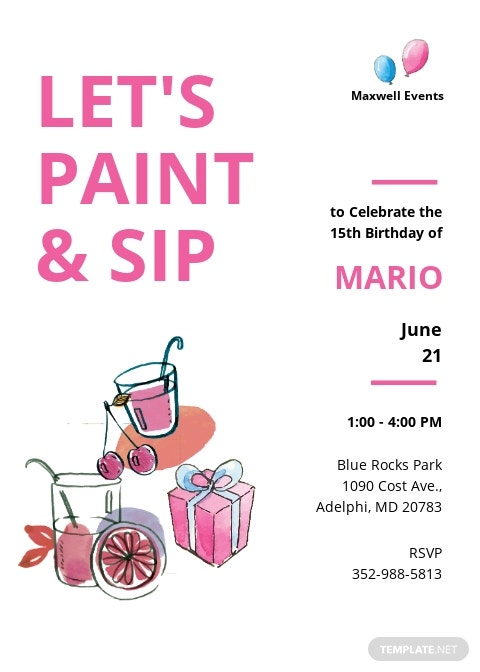 Paint And Sip Birthday Invitation Template.jpe
