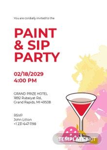Paint and Sip Party Invitation Template