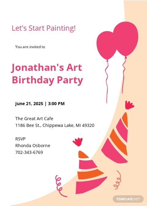 Paint Party Birthday invitation template